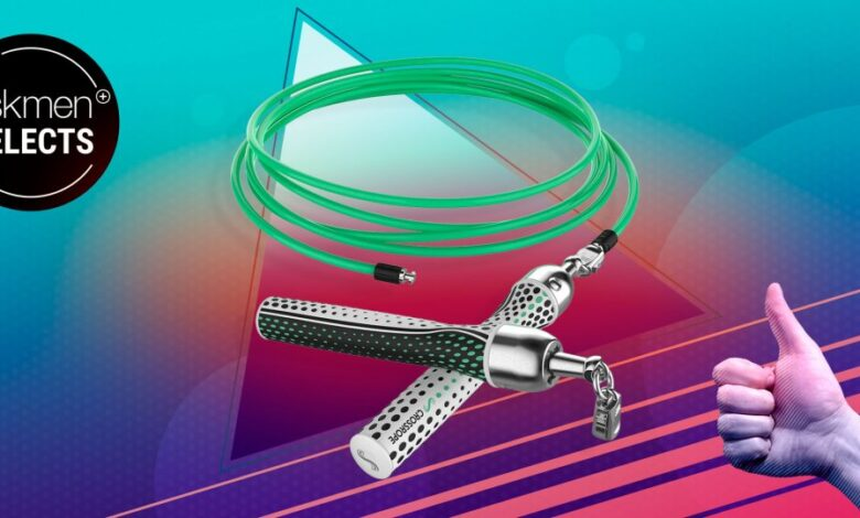 Crossrope jump rope on colorful background with AskMen Selects logo overlay
