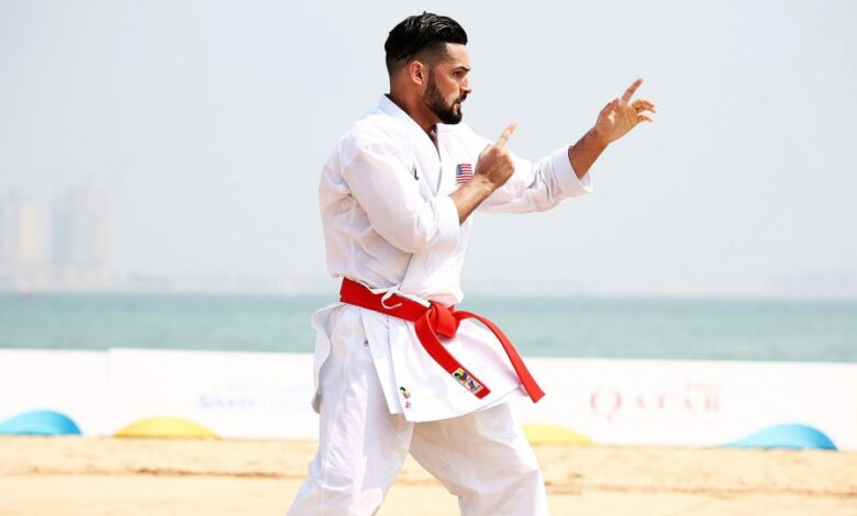 Ariel Torres of the USA in action during round 1 of the Men's Individual Kata