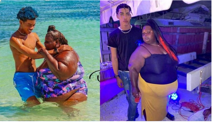 young Man shows off his chubby Wife