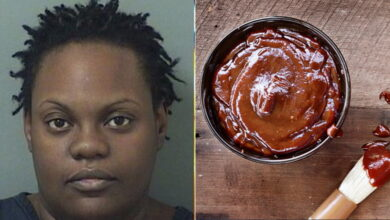 Photo of Woman Covers Husband In Barbecue Sauce And Chases Him With Butcher Knives